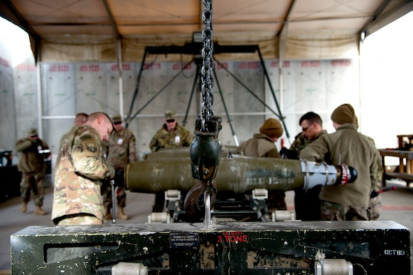Airmen and soldiers built bombs together during a combat shadow event Jan. 23, 2019 at Bagram Airfield, Afghanistan.