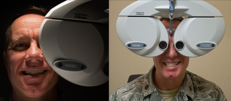 U.S. Air Force Maj. Ronny Bowman, 20th Aerospace Medical Dental Squadron optometry flight commander, poses for a portrait in his office at Shaw Air Force Base, S.C., Jan. 22, 2019.