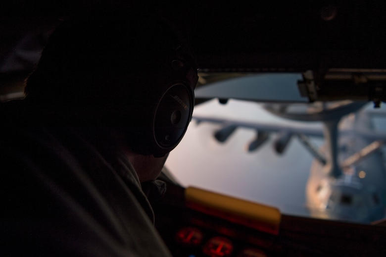 U.S. Air Force Staff Sgt. Jeffrey Michal, a 50th Air Refueling Squadron boom operator, refuels an MC-130H Combat Talon II aircraft over the Gulf of Mexico in support of Exercise Emerald Warrior, Jan. 17, 2019.