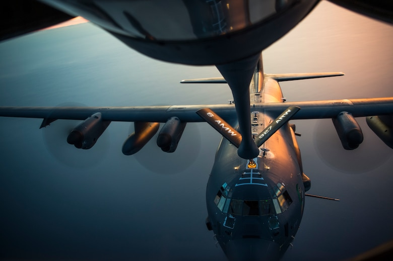 An MC-130H Combat Talon II aircraft receives fuel from a KC-135 Stratotanker assigned to the 6th Air Mobility Wing during Exercise Emerald Warrior, Jan. 17, 2019.