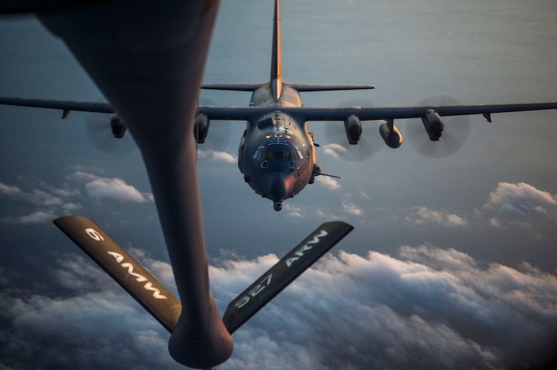 An MC-130H Combat Talon II aircraft closes in to receive fuel from a KC-135 Stratotanker assigned to the 6th Air Mobility Wing during Exercise Emerald Warrior, Jan. 17, 2019.