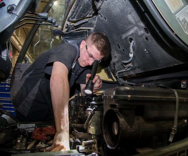 Airman 1st Class Aaron Turner, 375th Logistics Readiness Squadron vehicle maintenance technician, checks the oil on a forklift Jan. 10, 2019, at Scott Air Force Base, Ill. As vehicle maintenance Turner is trained to inspect, repair, and maintain the 326 vehicles that are needed for the daily mission at Scott.