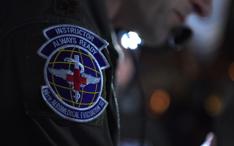 Members of the 86th Aeromedical Evacuation Squadron from Ramstein Air Base, Germany, perform medical evacuation training aboard a KC-135 Stratotanker over the skies of Germany, Jan. 23, 2019.  The 86th AES are charged with providing aeromedical care for both U.S. European Command and U.S. Africa Command, which is the largest area of responsibility out of all existing aeromedical evacuation squadrons. (U.S. Air Force photo by Airman 1st Class Brandon Esau