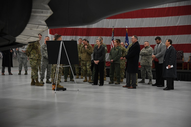 Air Force Secretary Heather Wilson receives a briefing about the F-35A Lightning II during a base visit, Jan. 23, 2019, at Hill Air Force Base, Utah. Hill AFB is slated to be home to three F-35 fighter squadrons with a total of 78 aircraft by the end of 2019. The active-duty 388th Fighter Wing and Air Force Reserve 419th Fighter Wing are the service's first combat-capable F-35 units and will be home to three F-35 fighter squadrons, totaling of 78 aircraft by the end of 2019. (U.S. Air Force photo by R. Nial Bradshaw)