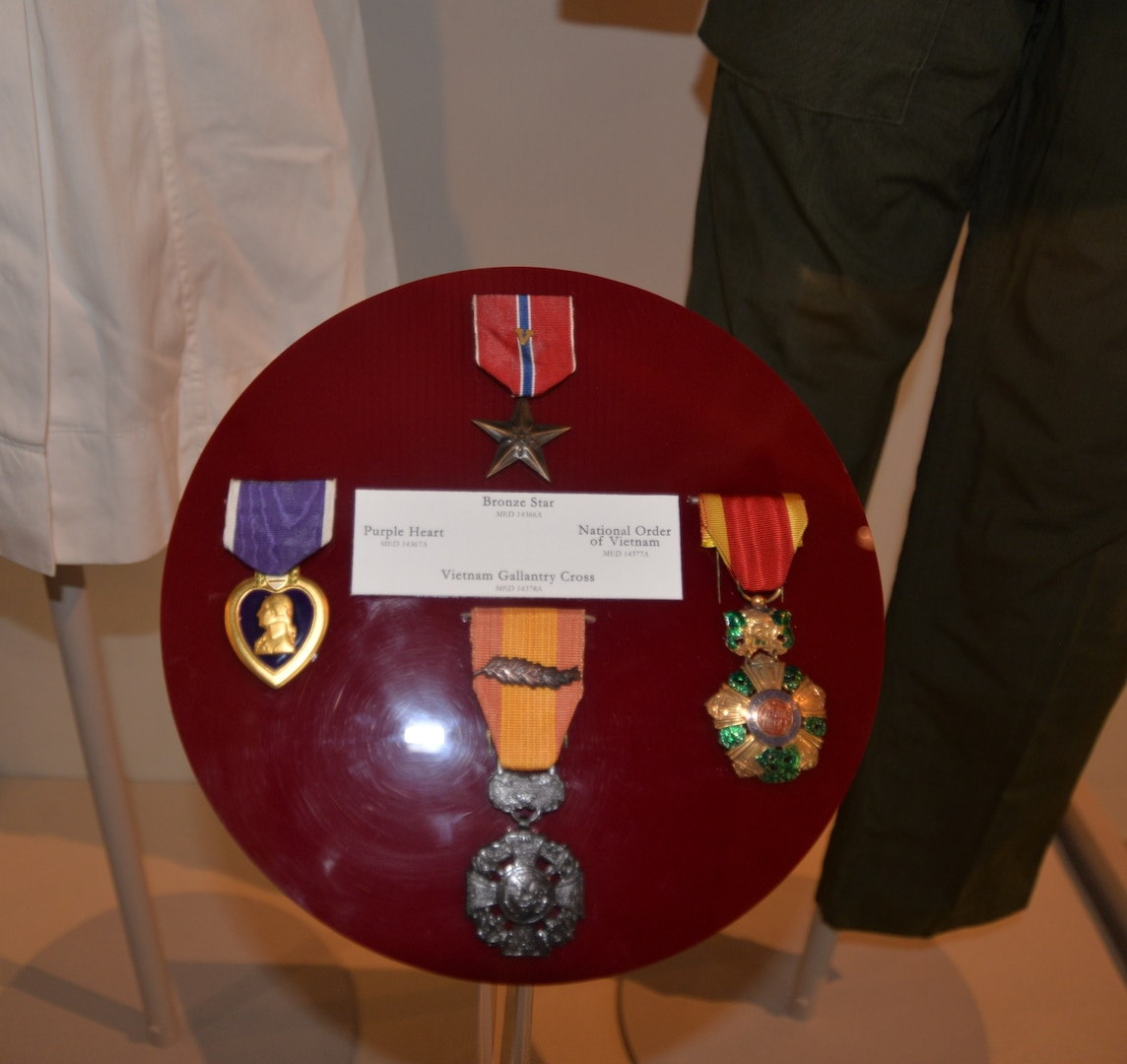 """Medals awarded posthumously to 1st Lt. Sharon Lane, including the Bronze Star """"V"""" for valor, the Purple Heart, the Vietnam Gallantry Cross and the National Order of Vietnam, are included in a new exhibit about Lane, a U.S. Army nurse who was killed in June 1969 while serving at the 312th Evacuation Hospital in Chu Lai, South Vietnam. She was the only U.S. military nurse killed by enemy fire during the Vietnam War."""