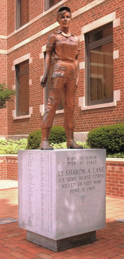 A statue honoring 1st Lt. Sharon Lane, a U.S. Army nurse killed during the Vietnam War, sits at Aultman Hospital, where she attended nursing school in the 1960s, in her hometown of Canton, Ohio. Lane was killed in June 1969 from enemy fire while serving at the 312th Evacuation Hospital in Chu Lai, South Vietnam. She was the only U.S. military nurse to die from enemy fire during the Vietnam conflict.