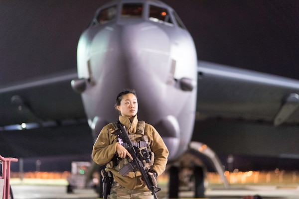 Airman guards B-52 Stratofortress during U.S. Strategic Command exercise Global Thunder 2019 at Barksdale Air Force Base, Louisiana, November 2, 2018 (U.S. Air Force/Mozer Da Cunha)