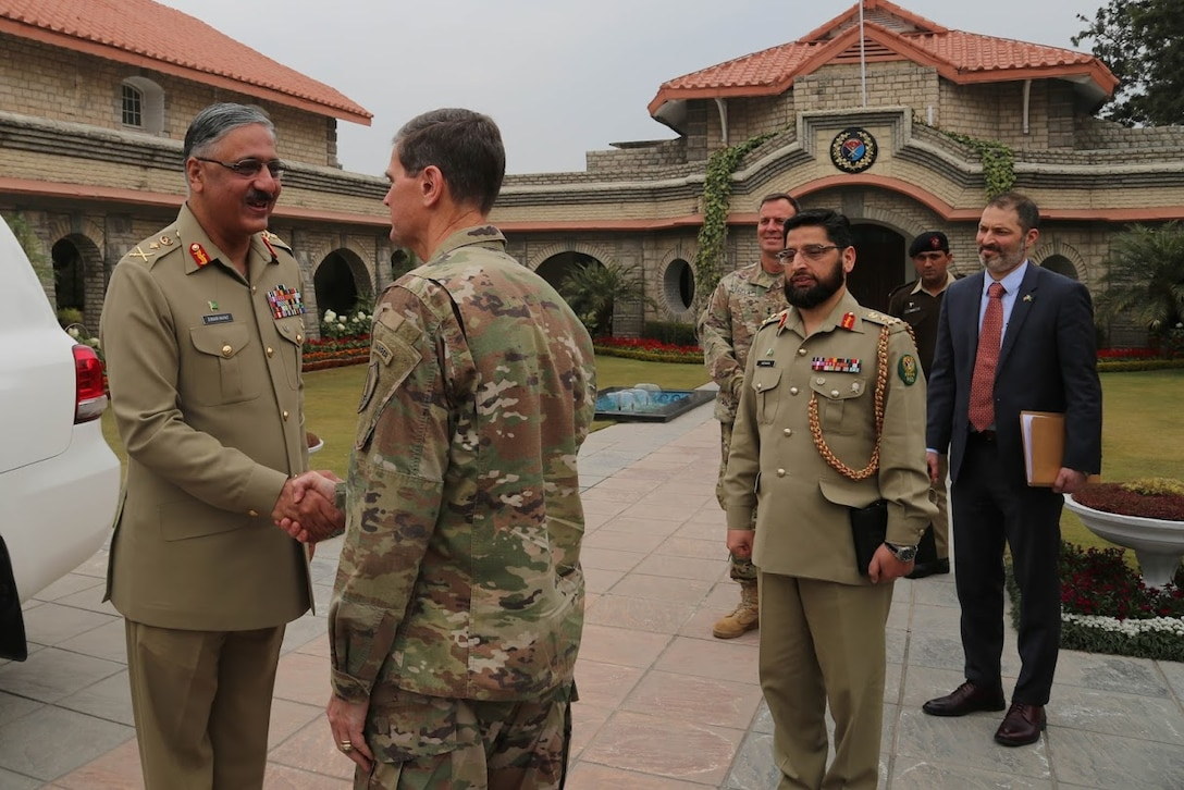 U.S. Army Gen. Joseph Votel, U.S. Central Command commander, meets with General Zubair Mahmood Hayat NI,16th Chairman Joint Chiefs of Staff Committee, Jan. 20, 2019. This meeting allowed Votel to help discuss solutions against ISIS and to gain a better understanding of current operations within Afghanistan. ( U.S. Army photo by Sgt. Franklin Moore)
