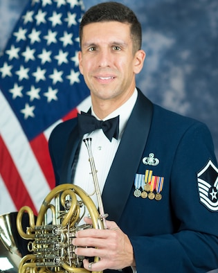 Official photo of Master Sgt. David Balandrin, French hornist with The United States Air Force Band, Joint Base Anacostia-Bolling, Washington, D.C.