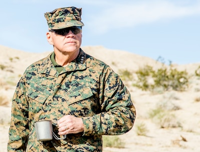 Commandant of the Marine Corps, Gen. Robert B. Neller visits 7th Marine Regiment's training area during exercise Steel Knight (SK) 2019 at Marine Corps Air Ground Combat Center, Twentynine Palms, California, Nov. 30, 2018.