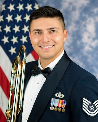 Official photo of Technical Sgt. David Gonzalez, Trombonist with The United States Air Force Band, Joint Base Anacostia-Bolling, Washington, D.C.