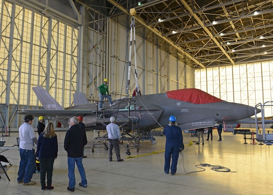 The 461st Flight Test Squadron's F-35 aircraft AF-04 sits in Hangar 1600 as a test team verifies crash and disabled aircraft recovery procedures Dec. 12, 2018. (U.S. Air Force photo by Kenji Thuloweit)
