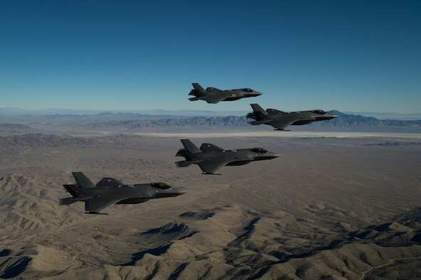 A formation of F-35A Lightning IIs, from the 388th and 419th Fighter Wings, fly over the Utah Test and Training Range. As the first combat-ready F-35 units in the Air Force, the 388th and 419th FW at Hill Air Force Base, Utah, are ready to deploy anywhere in the world at a moment's notice. (U.S. Air Force photo by Staff Sgt. Andrew Lee)