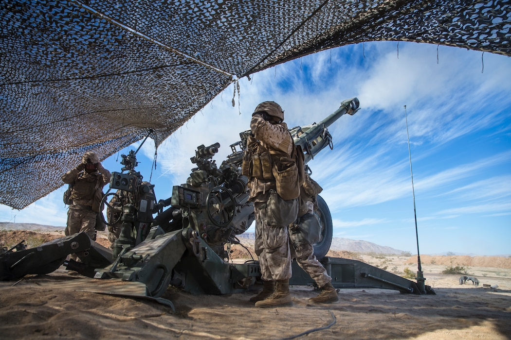 U.S. Marines with India Battery, 3rd Battalion, 11th Marine Regiment, 1st Marine Division, fire a M777 Howitzer, during exercise Steel Knight (SK) 2019 at Marine Corps Air Ground Combat Center, Twentynine Palms, California, Dec. 4, 2018.