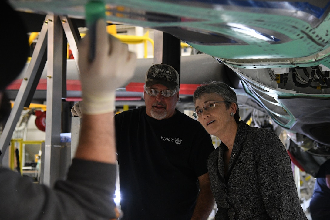 Jeff Pierce, 570th Aircraft Maintenance Squadron maintainer, briefs Air Force Secretary Heather Wilson about F-35 depot maintenance during a base visit Jan. 23, 2019, at Hill Air Force Base, Utah. The 570th AMXS is part of the Ogden Air Logistics Complex at Hill AFB, which is responsible for depot maintenance, repair, overhaul and modification of the A-10, C-130, T-38, F-16, F-22, F-35 and the Minuteman III Intercontinental Ballistic Missile system. (U.S. Air Force photo by R. Nial Bradshaw)