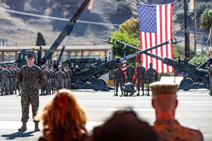 U.S. Marines with 2nd Battalion, 11th Marine Regiment, attend their centennial ceremony at Marine Corps Base Camp Pendleton, California, Nov 15, 2018