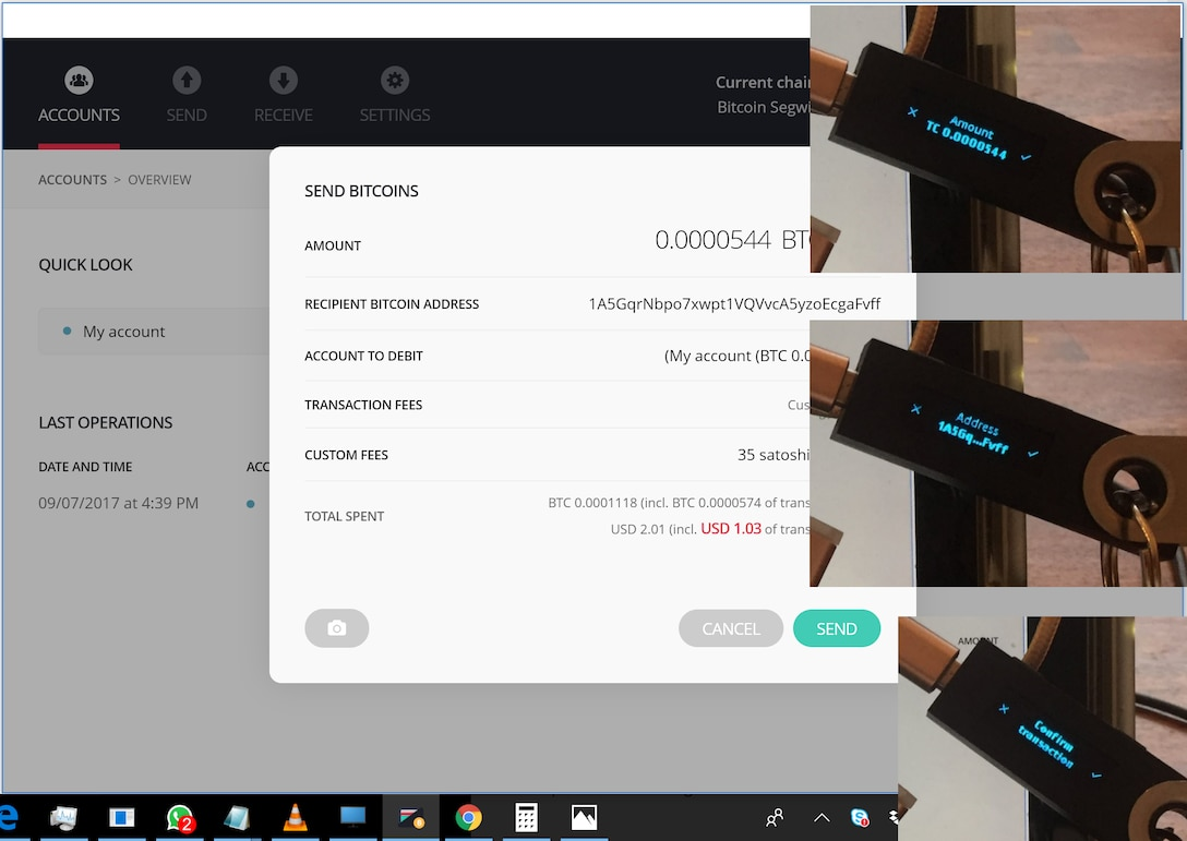 Bitcoin transaction with screenshots verifying amount and destination address, and physically confirming transaction, December 16, 2017 (FlippyFlink)