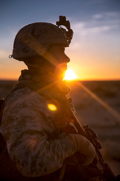 U.S. Marine Corps 1st Lt. John Lemus, executive officer with Headquarters Battery, 11th Marine Regiment, 1st Marine Division tours the battery's position, during exercise Steel Knight (SK) 2019 at Marine Corps Air Ground Combat Center, Twentynine Palms, California, Dec. 1, 2018.