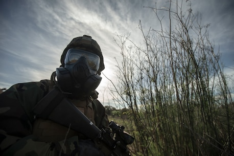 U.S. Marine Corps Lance Cpl. Corey Hodge, a fire control man with 2nd Battalion, 11th Marine Regiment, 1st Marine Division, posts security during exercise Steel Knight (SK) 2019 at Marine Corps Base Camp Pendleton, California, Dec. 2, 2018