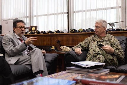 U.S. Navy Adm. Craig S. Faller, commander of U.S. Southern Command, meets with U.S. Ambassador to Guatemala Luis E. Arreaga Jan. 23.