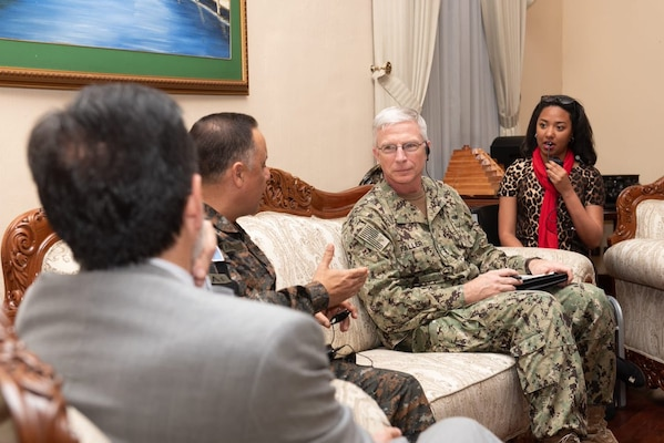 U.S. Navy Adm. Craig S. Faller, commander of U.S. Southern Command, meets Jan. 23 with Guatemalan Minister of Defense Maj. Gen. Luis Miguel Ralda Moreno