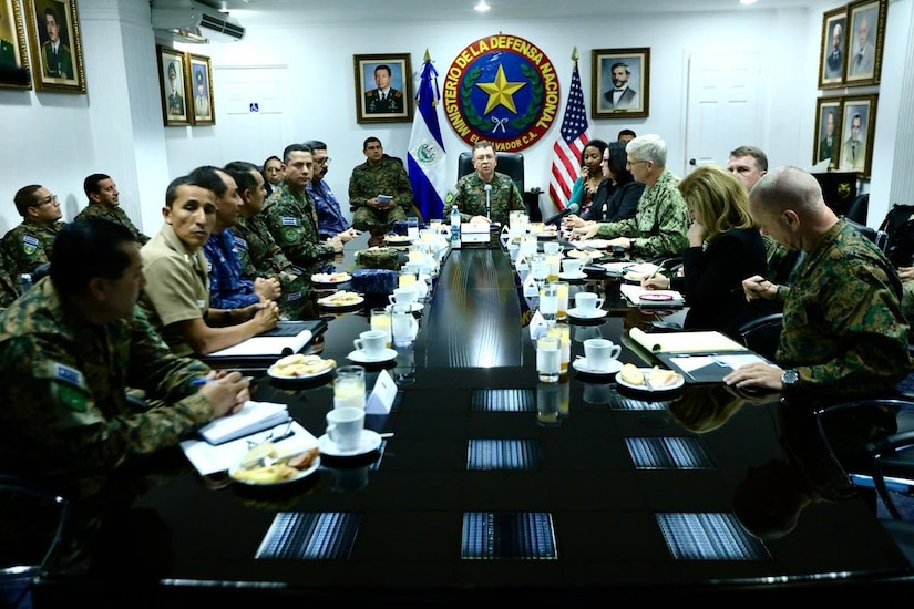 U.S. Navy Adm. Craig S. Faller, commander of U.S. Southern Command, meets with Salvadoran Minister of Defense, David Munguía Payés, and other Salvadoran military leaders to discuss security cooperation.