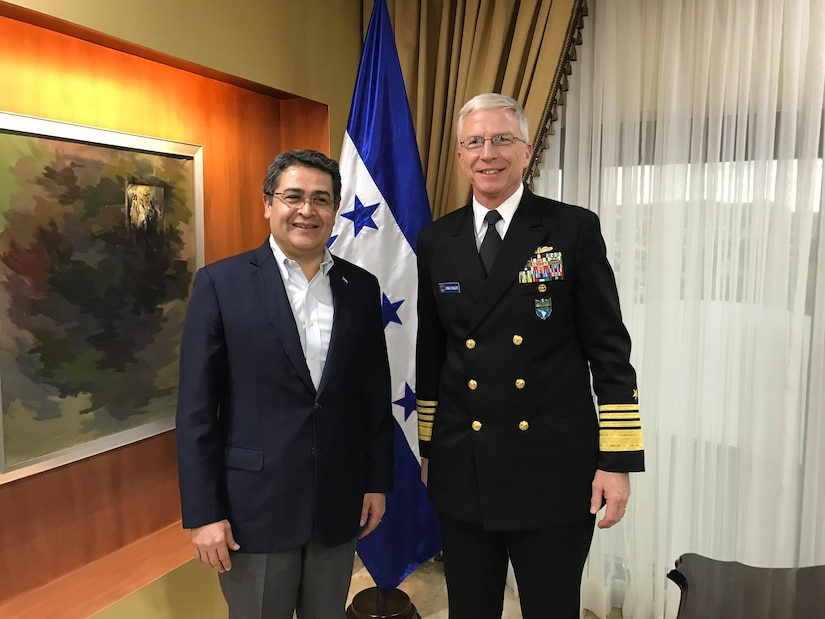 U.S. Navy Adm. Craig S. Faller, commander of U.S. Southern Command, meets with Honduran President Juan Orlando Hernandez in Honduras Jan. 22 to discuss the continuation of both nations' security partnership.