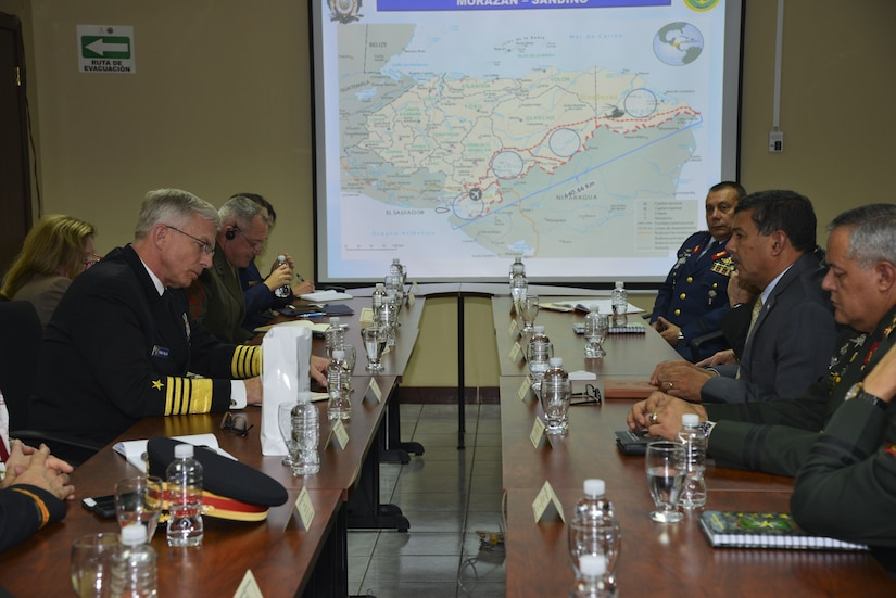 U.S. Navy Adm. Craig S. Faller, commander of U.S. Southern Command, meets with Honduran Minister of Defense Fredy Santiago Díaz Zelaya and Chief of the Honduran Armed Forces, Maj. Gen. René Orlando Ponce Fonseca Jan. 22. The leaders discussed shared efforts to bolster security in the region.