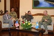 U.S. Navy Adm. Craig S. Faller, commander of U.S. Southern Command, meets Jan. 23 with Guatemalan Minister of Defense Maj. Gen. Luis Miguel Ralda Moreno.