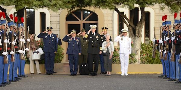 U.S. Navy Adm. Craig S. Faller, commander of U.S. Southern Command, renders honors at the Presidential Palace in Honduras Jan. 22.