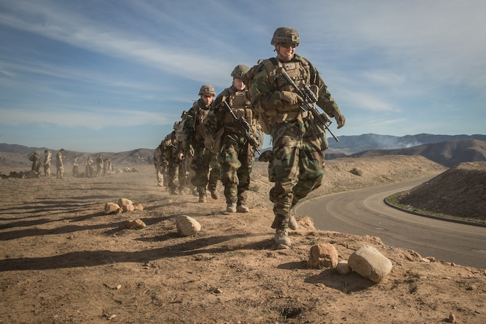 U.S. Marine Corps Cpl. Ramon Trevino, an infantry Marine with 1st Battalion, 5th Marine Regiment, participates in a training flight in preparation for Steel Knight 2019 on Marine Corps Base Camp Pendleton, Calif., Nov. 27, 2018.
