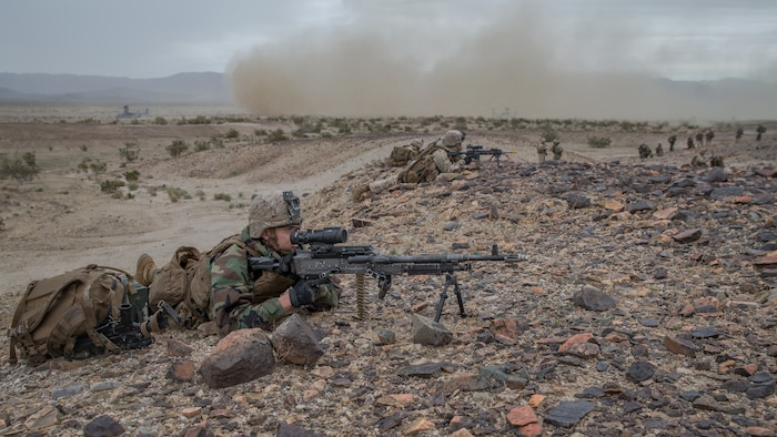U.S. Marine Corps LCpl. Jeremy Yeager, a machine gunner with 1st Battalion, 5th Marine Regiment, participates in a simulated air assault during Steel Knight 2019 (SK19) on Marine Corps Air Ground Combat Center, Twentynine Palms, Calif., Dec. 05, 2018.