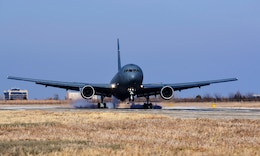 McConnell's first KC-46A Pegasus lands on the flightline Jan. 25, 2019, at McConnell Air Force Base, Kansas. The KC-46 will serve alongside the KC-135 Stratotanker at McConnell and supply critical aerial refueling, airlift and aeromedical evacuations at a moment's notice for America's military and allies. (U.S. Air Force photo by Airman 1st Class Alan Ricker)