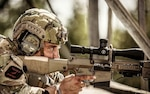 U.S. Army Spc. Tristan Ivkov, Infantryman, 1st Battalion, 157th Infantry (Mountain), Colorado Army National Guard identifies a target during the International Sniper Competition at Fort Benning, Georgia, in October 2018. (Photo courtesy Josaphat Orozco photography)