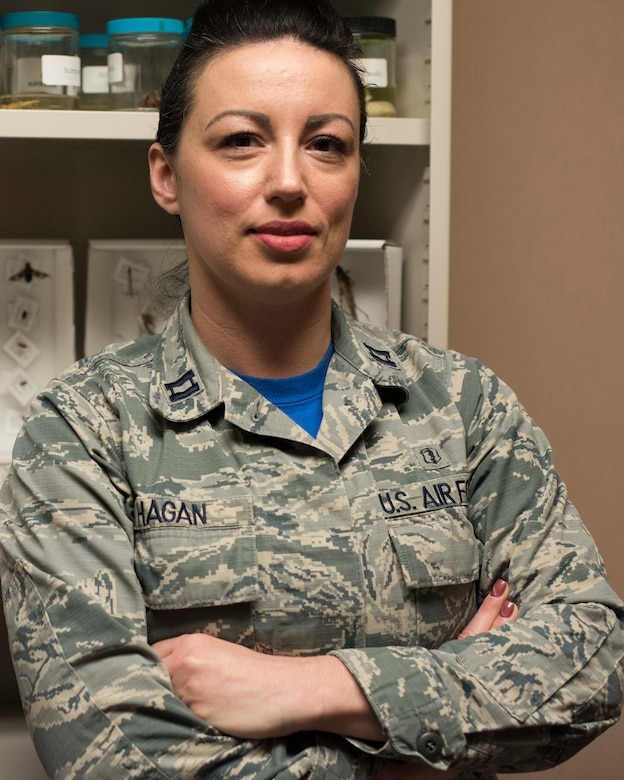 Capt. Sarah Hagan, 49th Medical Group Public Health flight commander, poses in the Public Health clinic, Jan. 11, 2019, on Holloman Air Force Base, N.M. The public health flight oversees 18 programs across the 49th Wing, and their primary missions are disease prevention and deployment readiness. (U.S. Air Force photo by Staff Sgt. BreeAnn Sachs)