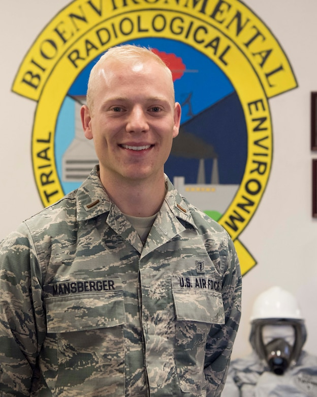 2nd Lt. Connor Mansberger, 49th Medical Group Bioenvironmental Engineering chief of operations, poses in the bioenvironmental engineering building, Jan. 11, 2019, on Holloman Air Force Base, N.M. Holloman's bioenvironmental engineers advise commanders on heath assessment operations regarding their work centers, monitor the use of hazardous materials as well as the presence of chemical, biological, radiological or nuclear materials. (U.S. Air Force photo by Staff Sgt. BreeAnn Sachs)