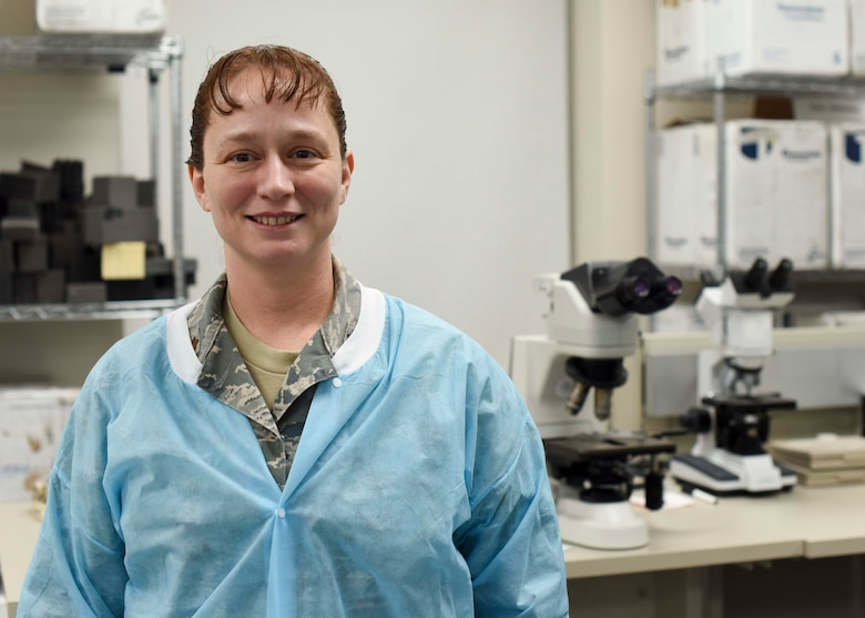 Maj. Rebecca Bird, 49th Medical Group laboratory flight commander, poses for a photo, Jan. 24, 2019, on Holloman Air Force Base, N.M. As a biomedical scientist, Bird is able to test all the chemicals and cells in the body to screen for a variety of diseases and medical conditions, and ensure the body is properly balanced. (U.S. Air Force photo by Staff Sgt. BreeAnn Sachs)