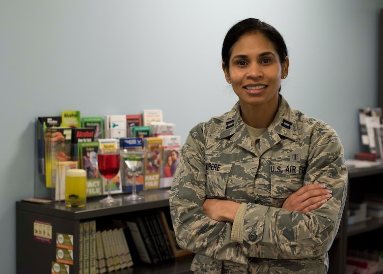 Capt. Sybella Morere, 49th Medical Group clinical social worker, poses for a photo, Jan. 24, 2019, on Holloman Air Force Base, N.M. The 49th MDG's mental health team is comprised of clinical psychologists, clinical social workers and nurse practitioners. (U.S. Air Force photo by Staff Sgt. BreeAnn Sachs)