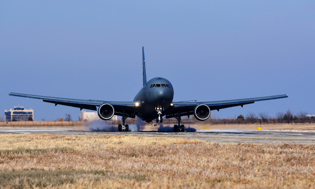 McConnell's first KC-46A Pegasus lands on the flightline Jan. 25, 2019, at McConnell Air Force Base, Kansas.
