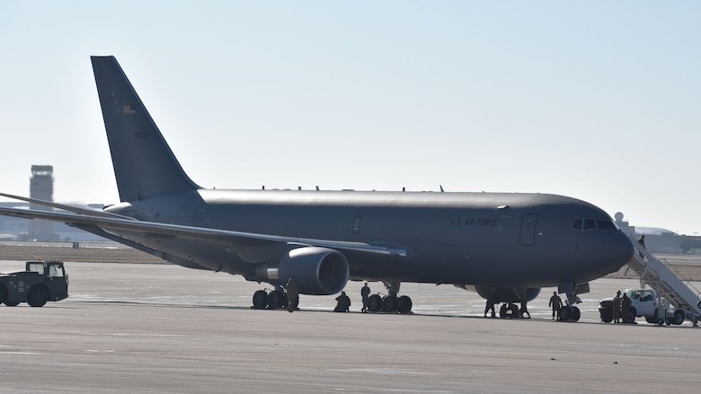 The second KC-46A Pegasus delivered to Team McConnell crewed by Reserve Citizen Airman Maj. Chris Markley, 924th Air Refueling Squadron pilot and Program Integration Office officer, Jan. 25, 2019, McConnell Air Force Base Kansas