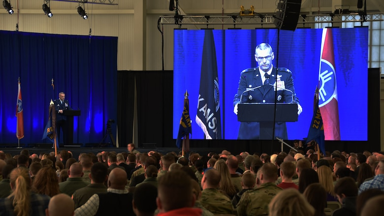 Col. Phil Heseltine, 931st Air Refueling Wing commander, speaks to an audience during the official arrival ceremony of the first two KC-46A Pegasus delivered to McConnell, Jan. 25, 2019.