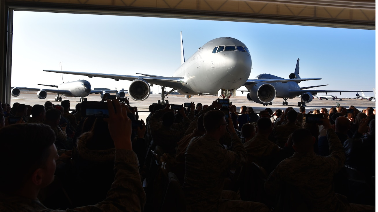 An audience attending the official arrival ceremony of the first KC-46A Pegasus to Team McConnell views the aircraft in person for the first time, Jan. 25, 2019, McConnell Air Force Base, Kan.