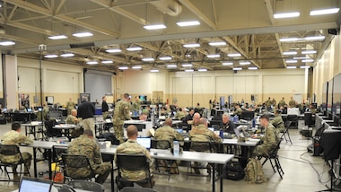 The Joint Task Force Civil Support (JTF-CS) Joint Operations Center during Exercise Sudden Response 19 in Fayetteville, N.C., on January 26, 2019. The week-long exercise is a critical training component for JTF-CS and various other units within JTF-CS, which deploys in response to nuclear disasters in the U.S. (Official DoD photo by Staff. Sgt. Jeramy Moore/released)