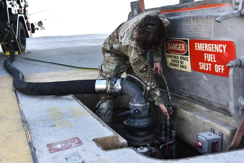 U.S. Air Force Airman 1st Class Charity Rodriguez, 380th Expeditionary Logistics Readiness Squadron fuels operations technician, fuels a KC-10 Extender at Al Dhafra Air Base, United Arab Emirates, Jan. 21, 2019. Without fuels operators, the multi-million dollar aircraft assigned wouldn't be able to fly and support ADAB's mission. (U.S. Air Force photo by Senior Airman Mya M. Crosby)