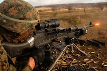 A U.S. Marine with Special Purpose Marine Air-Ground Task Force- Crisis Response- Africa 19.1 fires a M240B machine gun during a platoon attack on a live-fire range in Baumholder, Germany, Jan. 17, 2019. SPMAGTF-CR-AF is deployed to conduct crisis-response and theater-security operations in Europe and Africa.