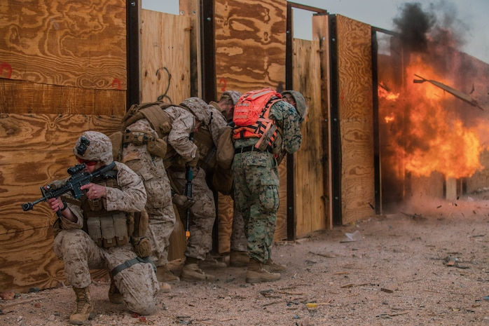 U.S. Marines with Animal Company, 1st Battalion, 7th Marines Regiment, 1st Marine Division , perform a breach and clear exercise at range 220 during Integrated Training Exercise 2-19 aboard the Marine Corps Air Ground Combat Center, Twentynine Palms, Calif., January 20, 2019. The purpose of ITX is to create a challenging, realistic training environment that produces combat-ready forces capable of operating as an integrated Marine Air Ground Task Force.