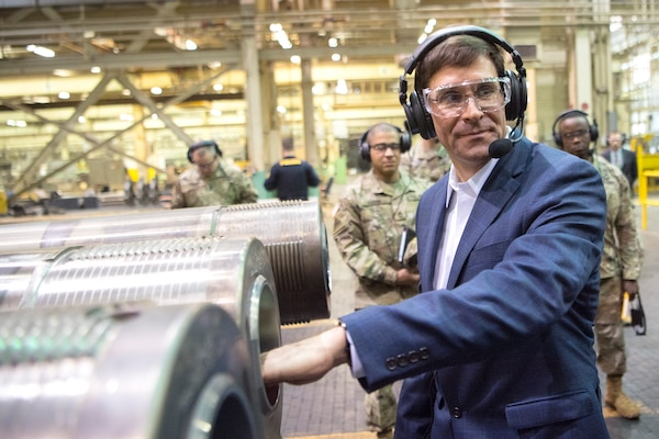 Secretary of the Army Dr. Mark T. Esper inspects parts at Watervliet Arsenal, N.Y., March 30, 2018.