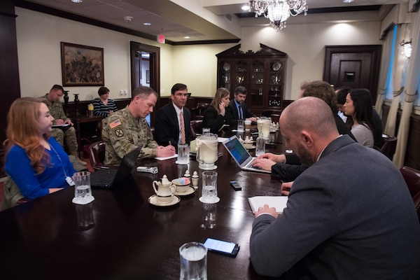 Secretary of the Army Dr. Mark T. Esper speaks to Defense writers during a roundtable at the Pentagon, Washingon, D.C., Jan. 24, 2019.