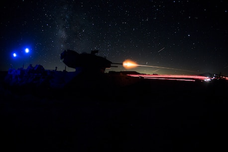 U.S. Marines fire an M2 .50 caliber machine gun, mounted to an amphibious assault vehicle, at simulated enemy targets during Large scale Exercise (LSE) 17 at Twentynine Palms, Calif., Aug. 17, 2017. LSE-17 was a multinational exercise, led by 2nd Marine Division, with elements from the United Kingdom, France, Canada and II Marine Expeditionary Force, focused on integrating all capabilities of the Marine Air-Ground Task Force and coalition forces.  (U.S. Marine Corps photo by Lance Cpl. Taylor Cooper)