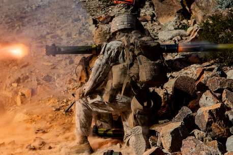 U.S. Marine Lance Cpl. Ruben Torres, an assaultmen squad leader, and Lance Cpl. Cameron H. Machado, an assaultmen gunner, both with Suicide Charley Company, 1st Battalion, 7th Marine Regiment, Marine Air-Ground Task Force-6 fire a Shoulder-Mounted Assault Weapon during Integrated Taining Exercise 2-19 on Range 410A aboard Marine Corps Air-Ground Combat Center Twentynine Palms, Calif., Jan. 22, 2019. ITX creates a challenging, realistic training environment that produces combat-ready forces capable of operating as an integrated MAGTF. (U.S. Marine Corps photo by Lance Cpl. Nathaniel Q. Hamilton)